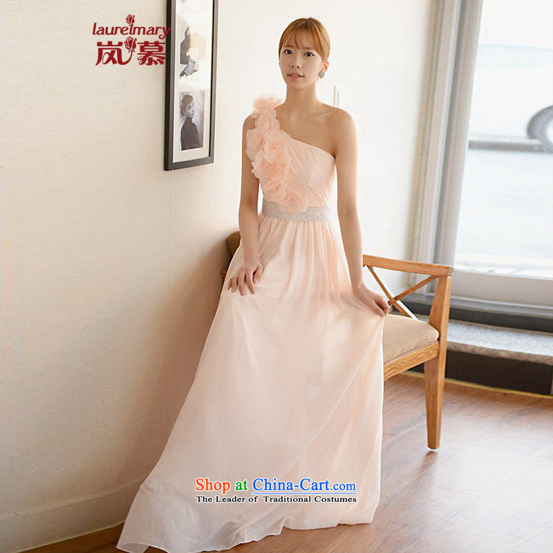 The sponsors of the 2014 New LAURELMARY, Korean three-dimensional flowers shoulder Foutune of Sau San chiffon alignment to bride dress ivory M chest 85 Waist69)