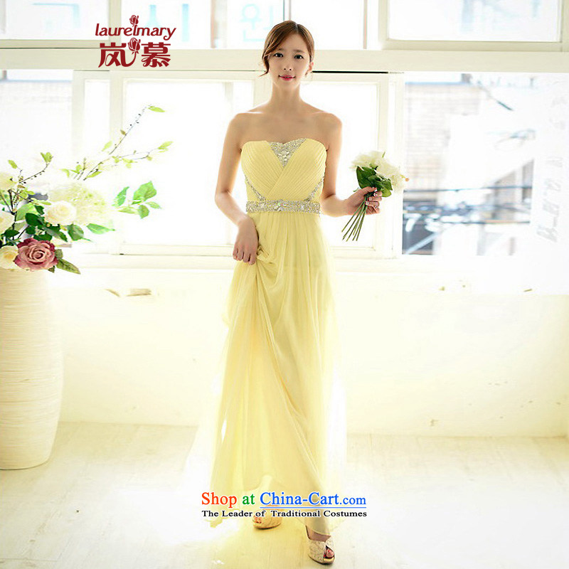 The sponsors of the 2014 New LAURELMARY, Korean fashion gliding anointed chest foutune like Susy Nagle chiffon align to dress bridal dresses light yellow?L 90 waist chest74_