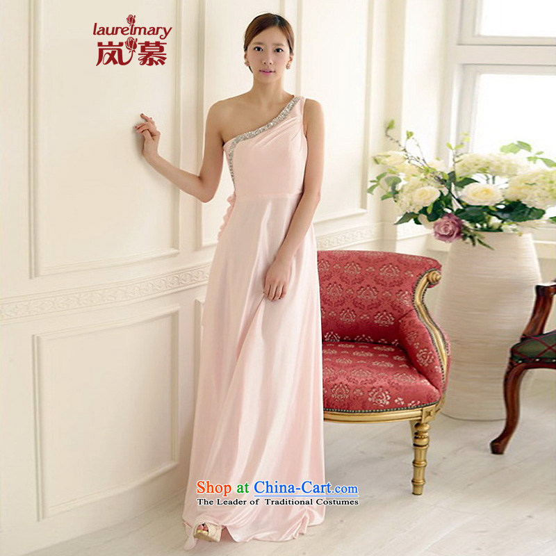 The sponsors of the 2015 New LAURELMARY, Korean charming sexy Beveled Shoulder curve foutune chiffon align to the bridal dresses light pink?M chest 85 Waist69)