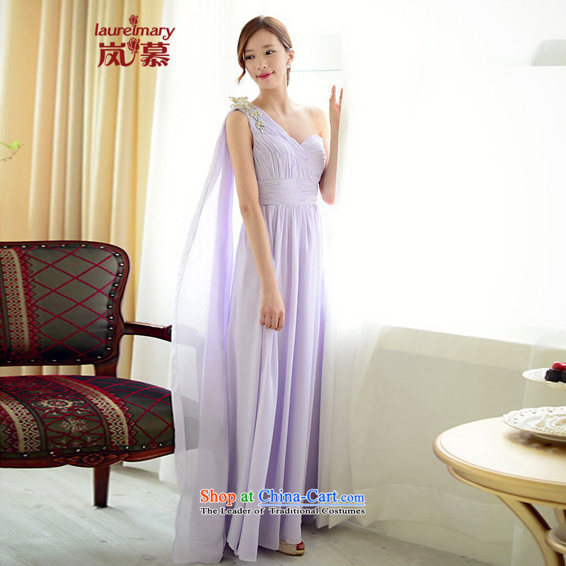 The sponsors of the 2015 New LAURELMARY, Korean soft and beautiful Stitch pearl single shoulder higher waist chiffon bride dress with a light purple Sau San XL_ chest 95 Waist79_