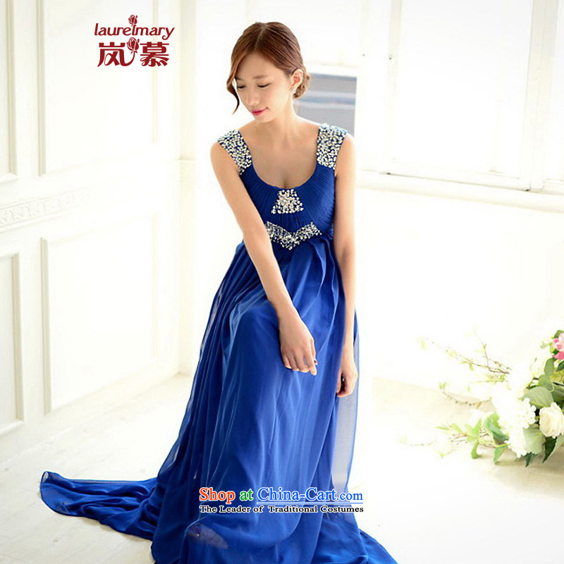 The sponsors of the 2015 New LAURELMARY, Korean citizenry irrepressible shoulders Stitch pearl design high waist chiffon small A swing to align the evening dress Blue?M chest 85 Waist69)