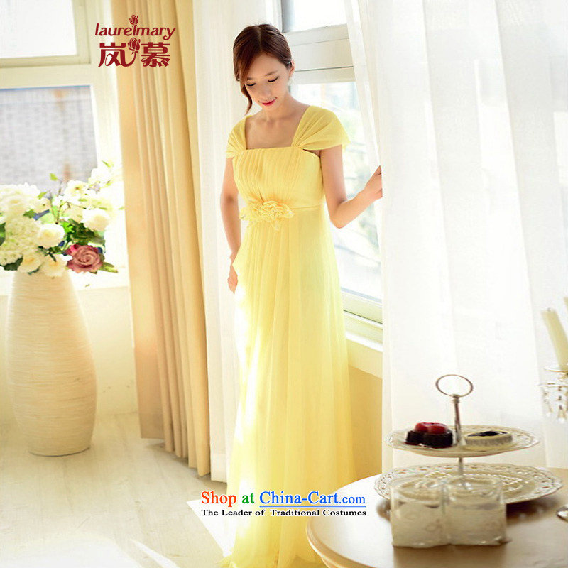The sponsors of the 2015 New LAURELMARY, Korean name Yuan Classic double shoulder higher waist like Susy Nagle chiffon to align the Sau San dress pale yellow L 90 waist chest74)