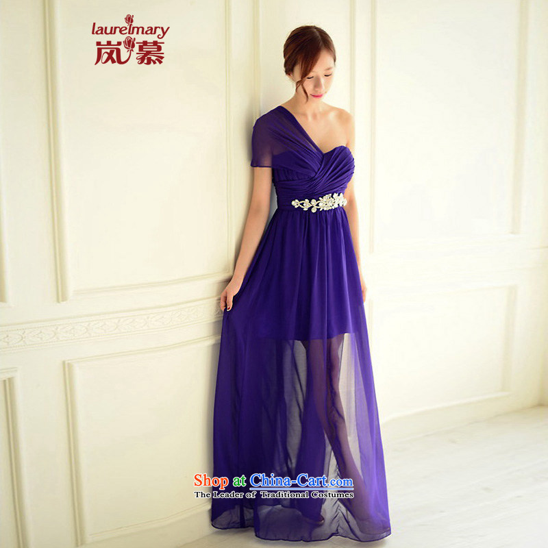 The sponsors of the 2015 New LAURELMARY, Korean Dream shoulder and breast height waist gauze to align the fluoroscopy chiffon dress purple?XL( chest 95 Waist79)