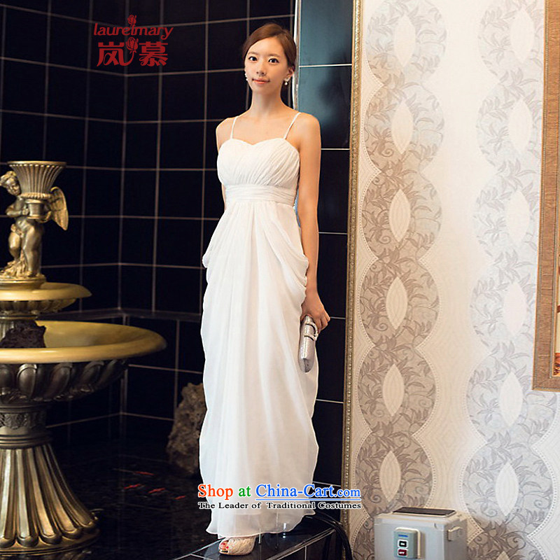 The sponsors of the 2015 New LAURELMARY, Korean romantic princess straps and breast height waist Sau San small A swing to align the chiffon bridal dresses ivory?L chest 90 Waist74)