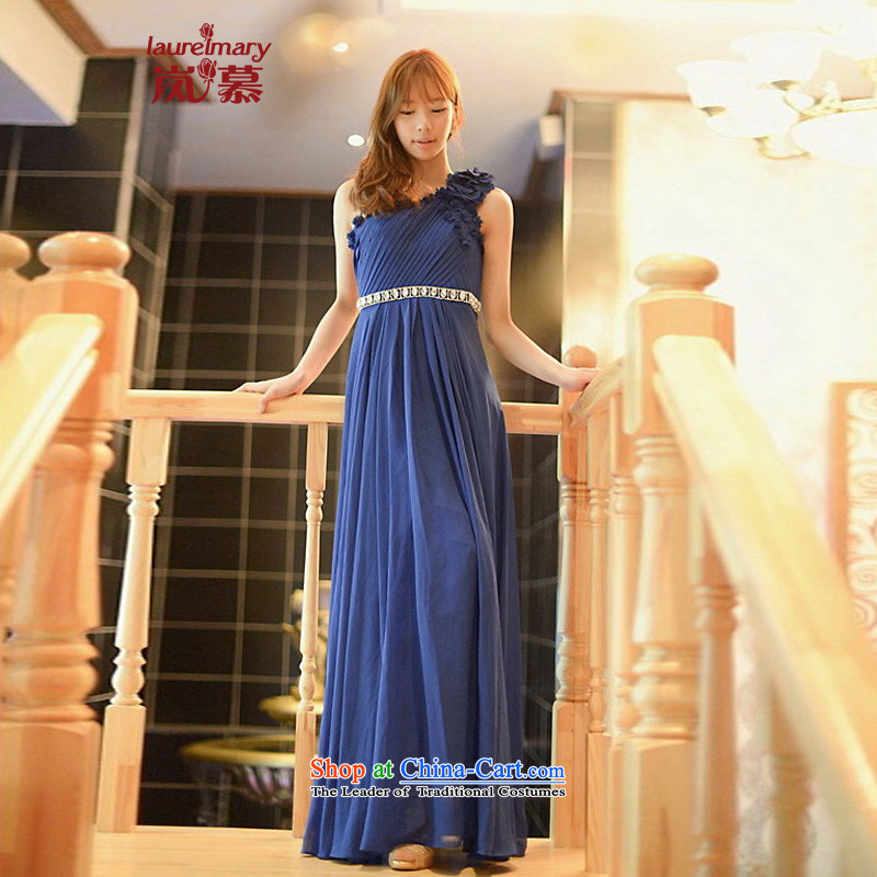 The sponsors of the 2015 New LAURELMARY, elegant and stylish Korean Beveled Shoulder Belt manually Stitch pearl design to align the chiffon evening dresses navy?M chest 85 Waist69)