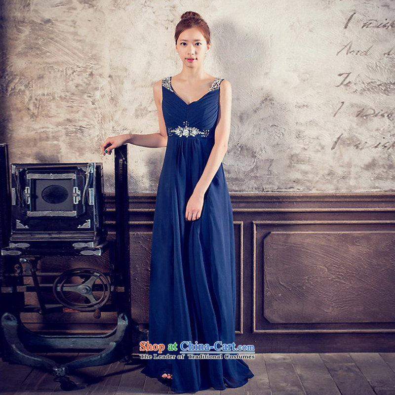 The sponsors of the 2014 New LAURELMARY, Korean Fine shoulders low chest manually align the Stitch pearl Sau San To The chiffon evening dresses bridal dresses navy?M chest 85 Waist69)