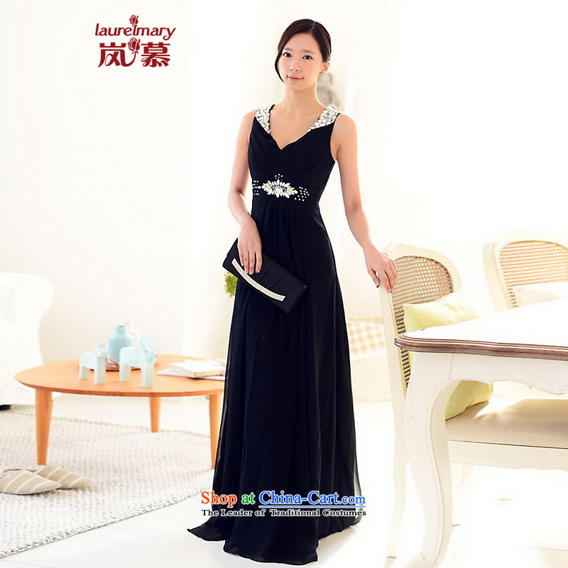 The sponsors of the 2014 New LAURELMARY, Korean Fine shoulders low chest manually align the Stitch pearl Sau San To The chiffon evening dresses bridal dresses navy聽M chest 85 sponsors the waist 69), shopping on the Internet has been pressed.