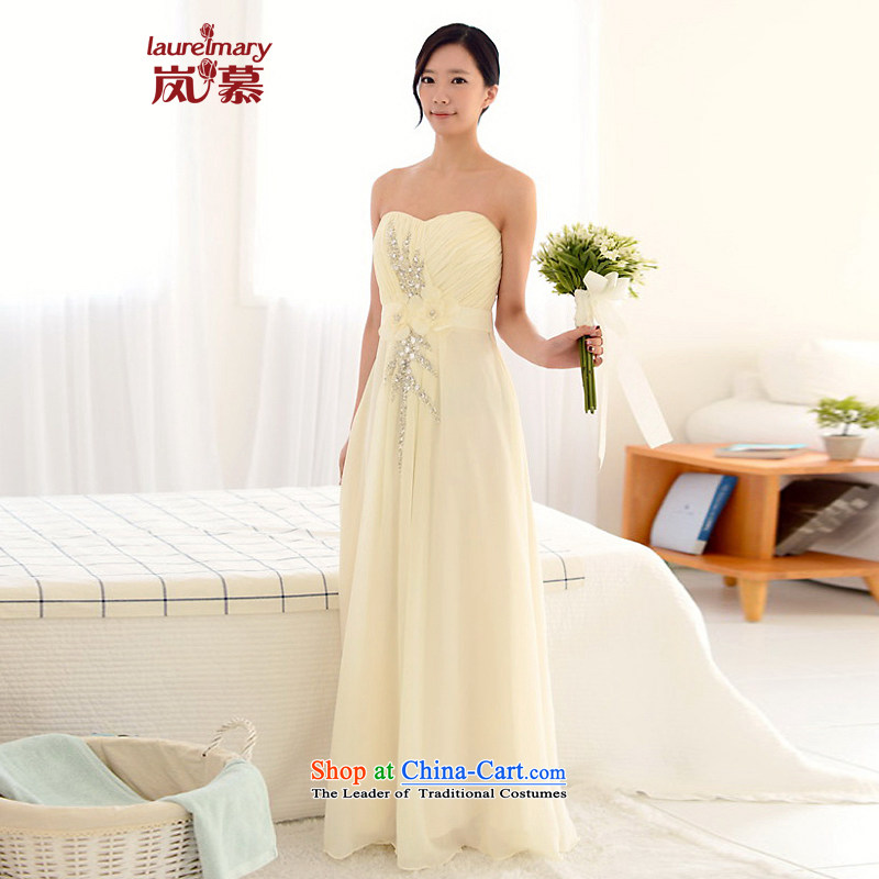 The sponsors of the 2015 New LAURELMARY, Korean lovely anointed chest like Susy Nagle manually Stitch pearl small A swing to align the bridal dresses figure light champagne?XL( chest 95 Waist79)