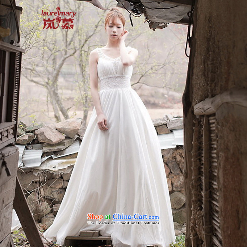 The sponsors of the 2014 New LAURELMARY, Korean sweet round-neck collar Stitch pearl lace Foutune of Sau San small A swing to align the bridal dresses ivory?L chest 90 Waist74)
