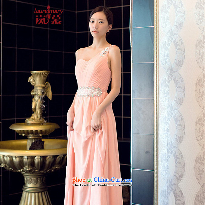 The sponsors of the 2014 New LAURELMARY_ won a single shoulder version romantic Stitch pearl foutune chiffon align to dress bridal dresses pink L 90 waist chest74_
