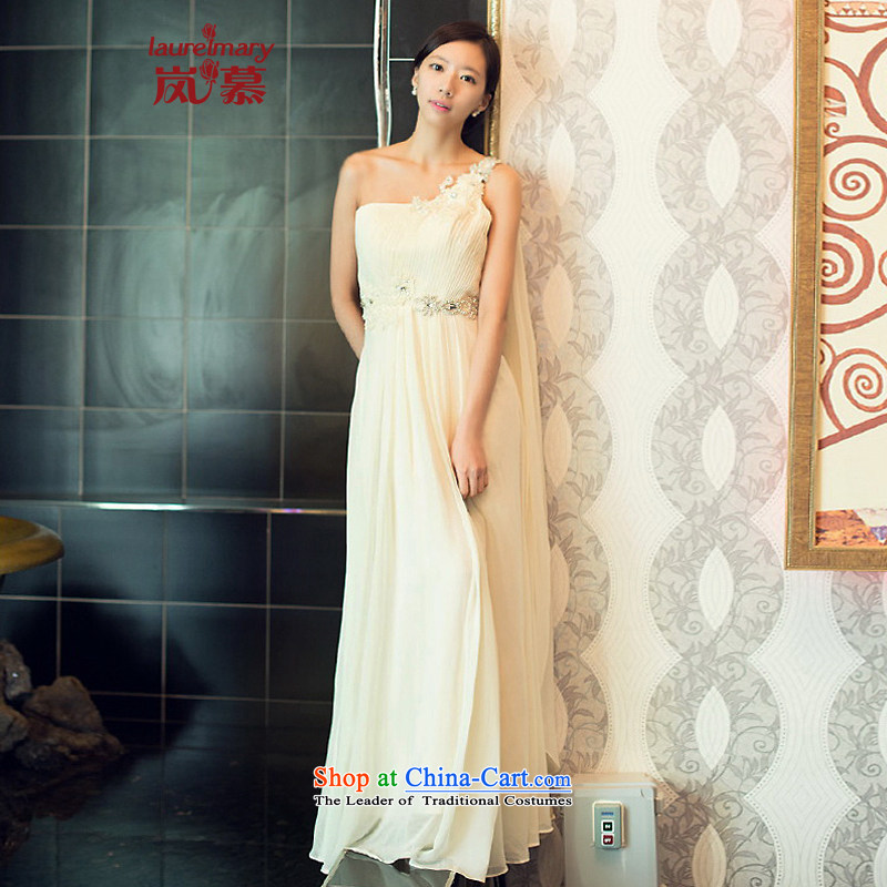 The sponsors of the 2015 New LAURELMARY) Korea Edition click shoulder higher waist manually Stitch pearl chiffon align to bride dresses Sau San?XL( white breast 95 Waist79)