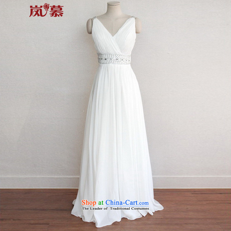 The sponsors of the 2015 New LAURELMARY, Korean cross-Back high energy waist chiffon alignment to bride evening dresses White?M chest 85 Waist69)