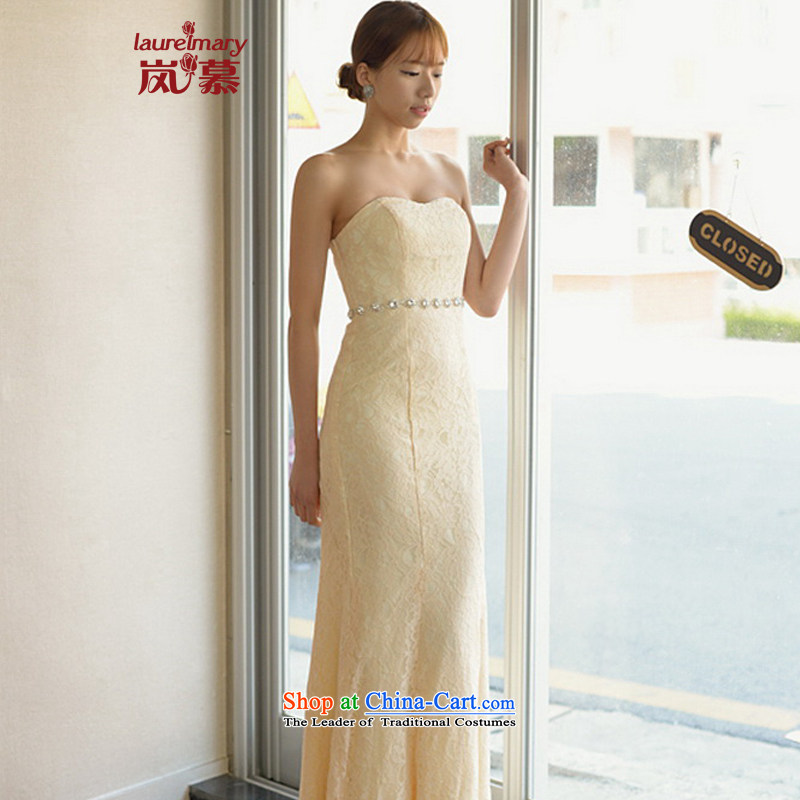 The sponsors of the 2015 New LAURELMARY, Korean lace anointed chest Stitch pearl Foutune of Sau San video thin package and long evening dress bride ceremony crowsfoot Figure Color?XL( chest 95 Waist79)