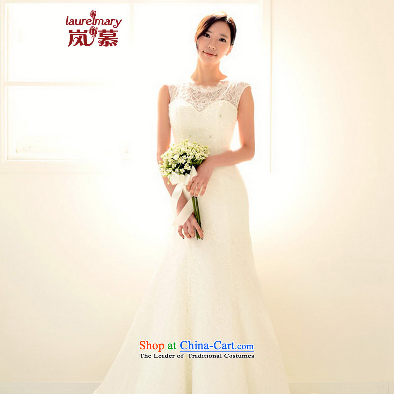 The sponsors of the 2015 New LAURELMARY, Korean elegant lace round-neck collar Sau San video thin back straps to align the tail evening dresses bride ceremony as figure color?M chest 85 Waist69)
