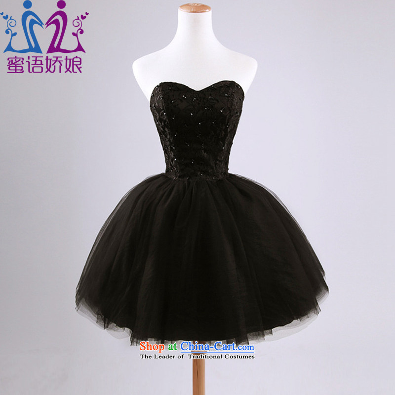 Talk to her?new 2015 small dresses and chest bon bon skirt marriages bows services integrated graphics with dancing Short thin, black dress?XXL