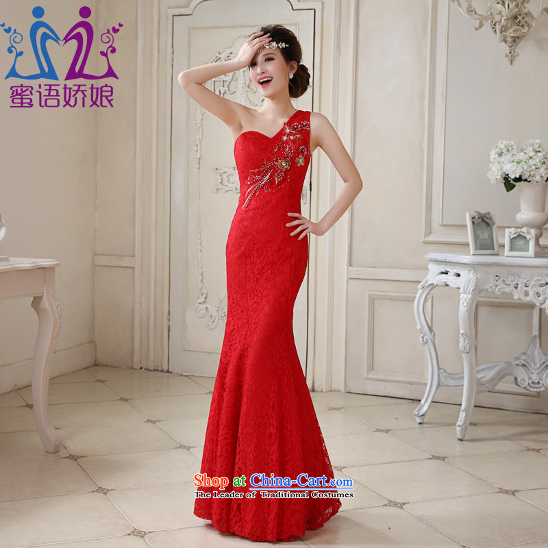 Talk to her new 2015 Long lace Sau San shoulder dress marriages bows crowsfoot qipao wedding services bridal red XL