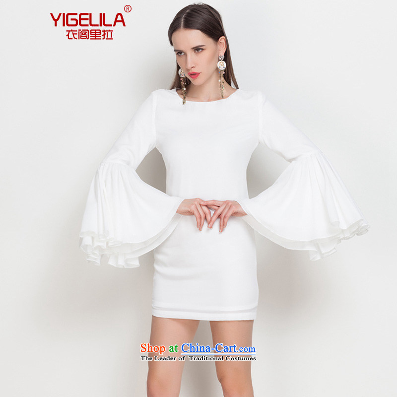 Yi Ge lire _YIGELILA aristocratic temperament dress stylish small dining dress billowy flounces seven hundred folds cuff autumn and winter long-sleeved dresses Saint female white 6脗 542 applications for ORSO M