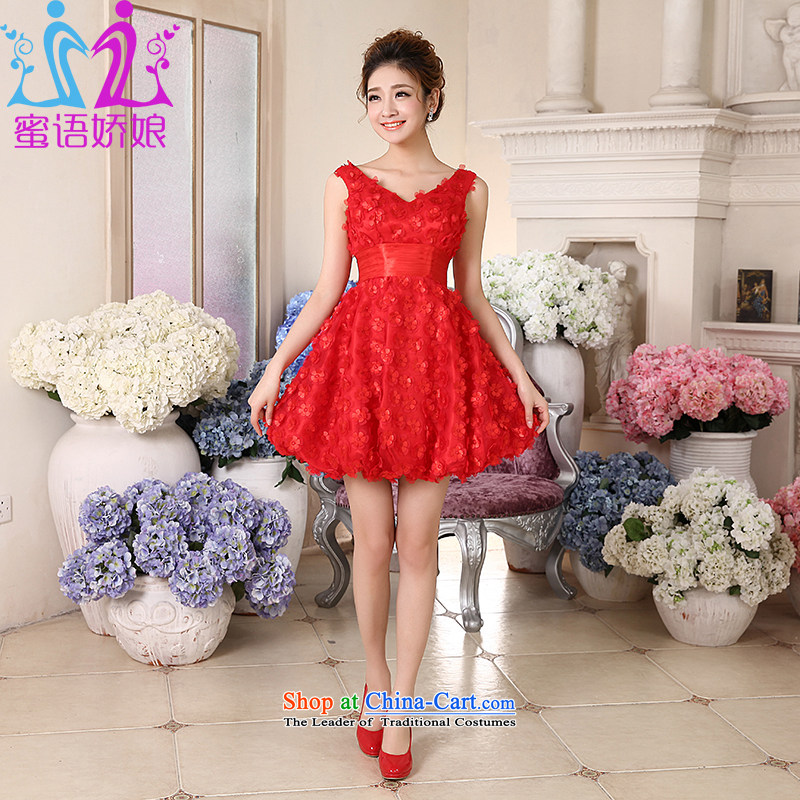 Talk to Her Wedding Dress 2015 new small dress female bon bon skirt marriages bows Service, V-Neck betrothal festival red S