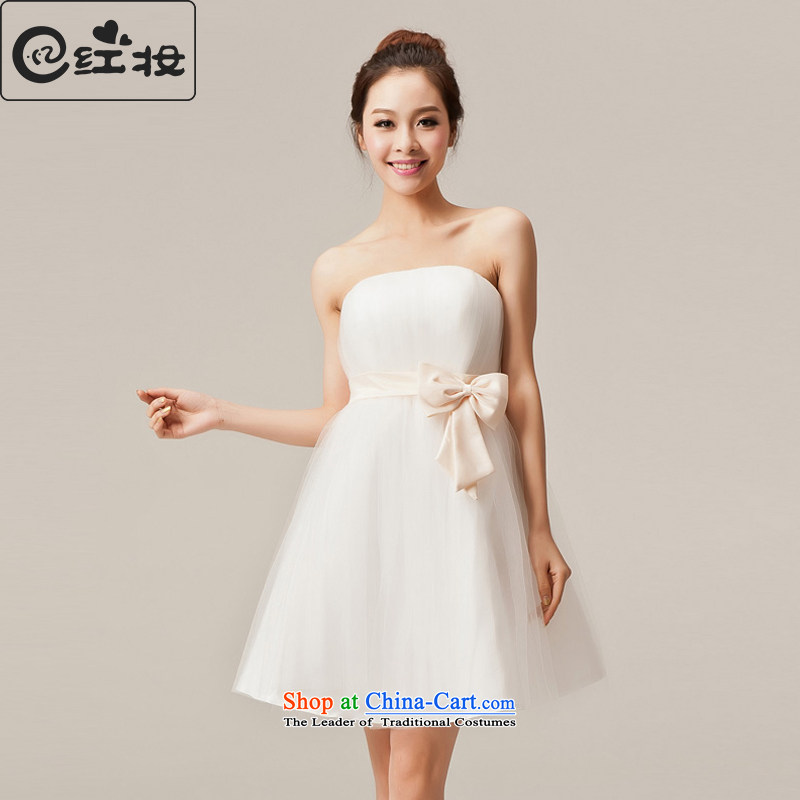 Recalling that the 2015 spring of Namibia Red bridesmaid dress short of the small dining dress Korean bridesmaid services bridesmaid skirt bridesmaid mission sister dress L12053 white S