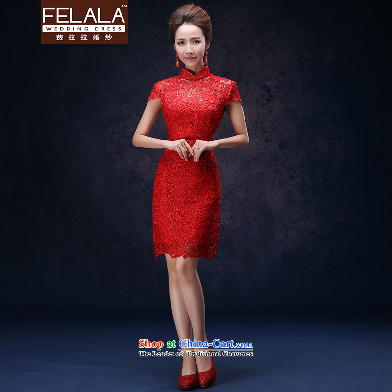 Ferrara lace cheongsam dress code red large stylish short of Chinese 2015 marriages bows to female?L?Suzhou Shipment