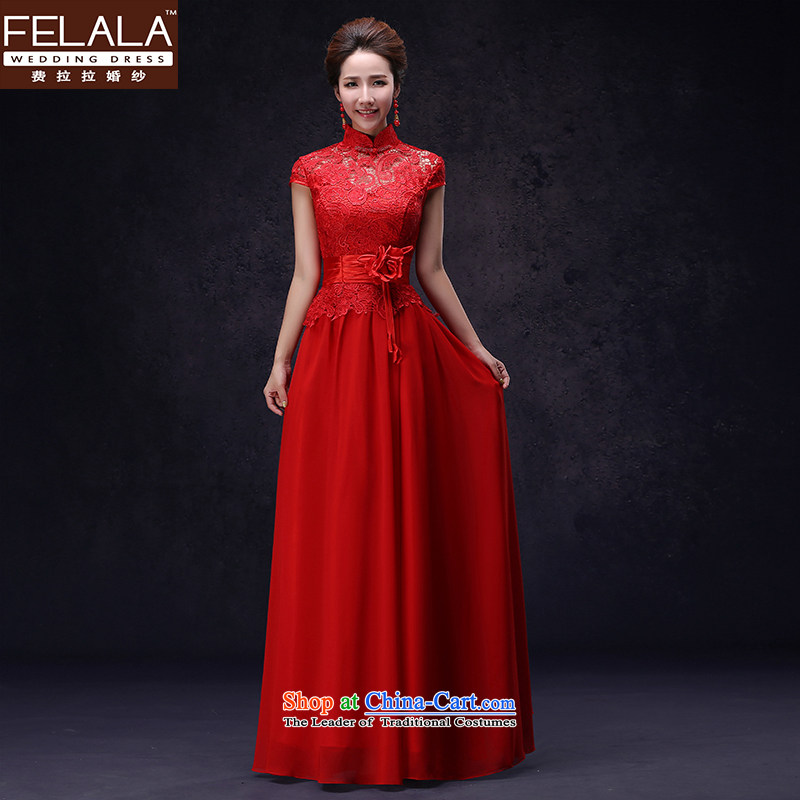 Ferrara highstreet betrothal cheongsam dress long red Chinese marriages bows to female retro?S?Suzhou Shipment