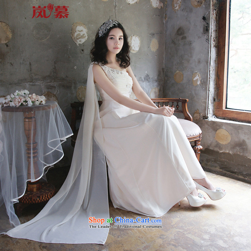 The sponsors of the 2015 New LAURELMARY, Korean gliding Beveled Shoulder Stitch pearl creases Foutune of Skinny A swing align graphics to the chiffon bridal dresses other color contact customer service�XL( chest 95 Waist79)