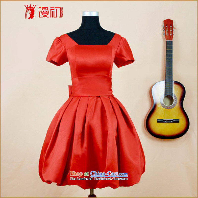 In the early 2015 new man Dress Short of Korean dress marriages bows services 1 shoulder bridesmaid at night service large red S