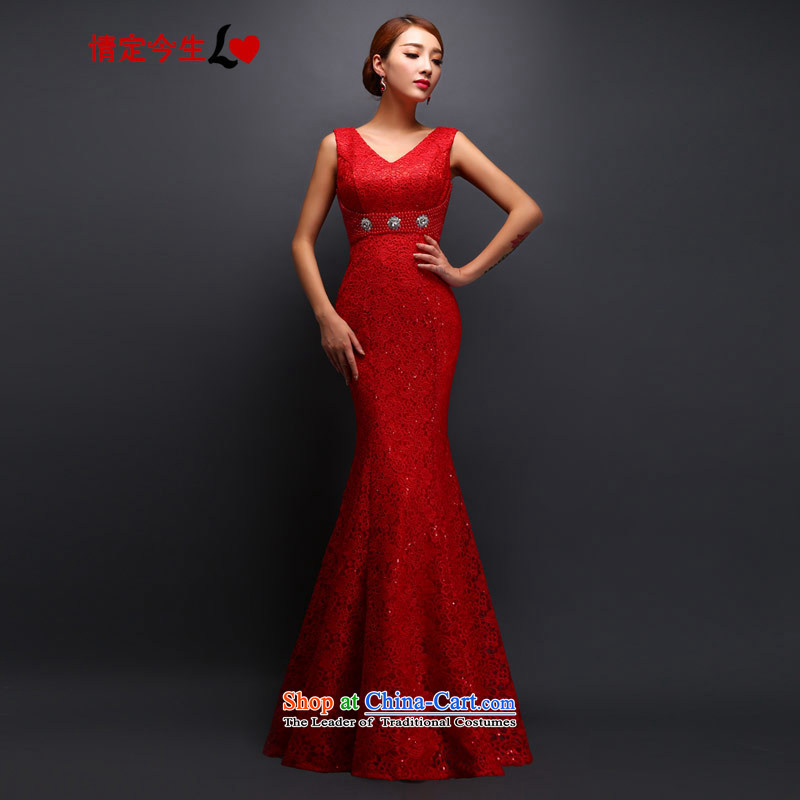 Love of the overcharged 2015 deep V territorial waters soluble lace a shoulder the new bride wedding dresses bows services bridesmaid services red?XXL