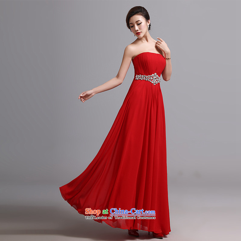 Hei Kaki wedding dress 2015 new long sexy bows bridesmaid skirt anointed chest marriage banquet dress X028 RED S