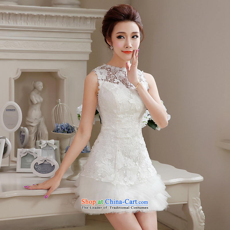 Hei Kaki Sau San wedding dresses 2015 autumn and winter new evening dresses lace bridesmaid service shoulders small short skirts NF22 female white聽L