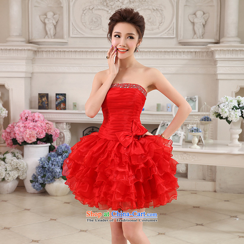 Hei Kaki 2015 autumn and winter new short, wipe the chest small evening dresses bridesmaid skirt bow tie pleated skirts swing NF23 hundred red XS