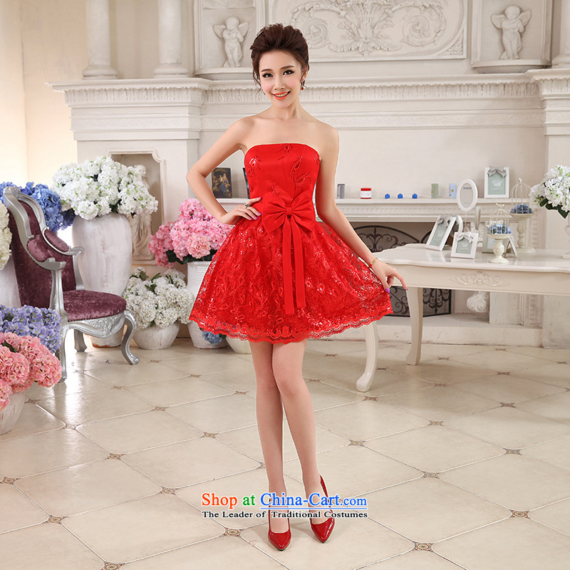 Hei Kaki 2015 autumn and winter new short, wipe the chest small evening dresses bridesmaid skirt bow tie lace petticoats NF24 RED XL