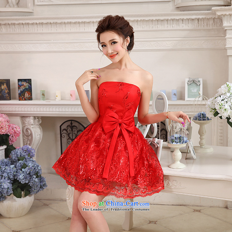 Hei Kaki 2015 autumn and winter new short, wipe the chest small evening dresses bridesmaid skirt bow tie lace petticoats聽NF24聽RED聽XL, Hei Kaki shopping on the Internet has been pressed.