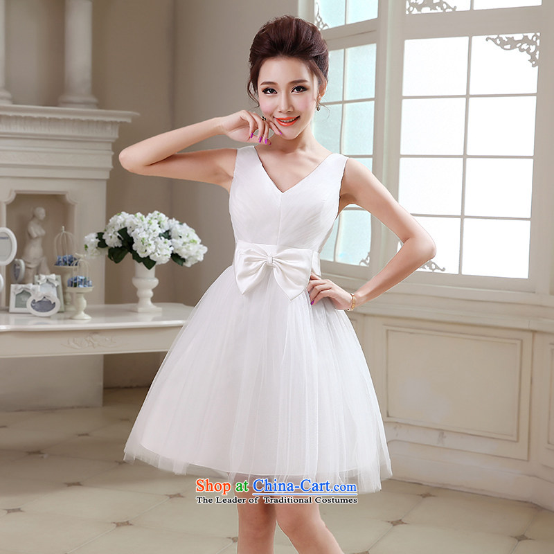 Hei Kaki 2015 autumn and winter new short, shoulders small evening dresses bridesmaid skirt bow tie lace petticoats?NF25?ivory?S