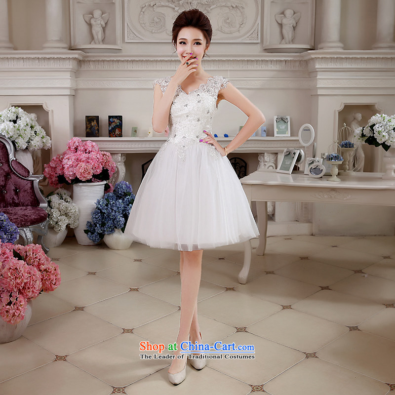 Hei Kaki 2015 autumn and winter new short, shoulders small evening dresses bridesmaid Lace Embroidery Apron bon bon petticoats聽NF27聽white聽L