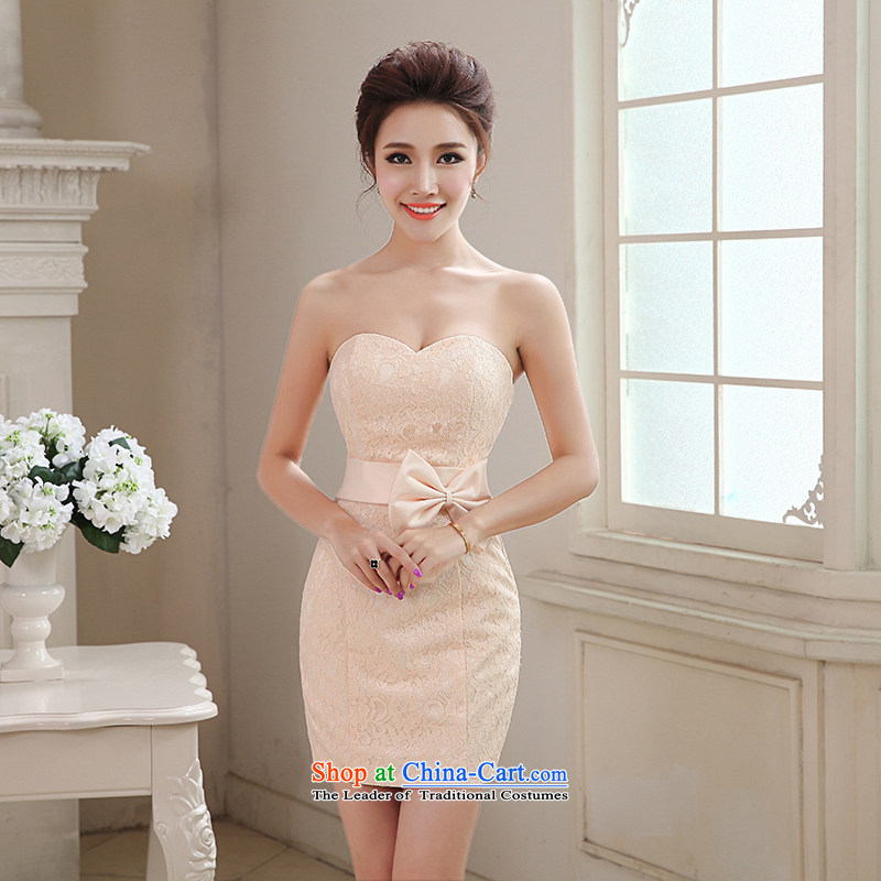 Hei Kaki 2015 autumn and winter new short of heart-shaped anointed chest bow ties small evening dresses bridesmaid skirt聽NF28 Sau San聽champagne color left tailored Size