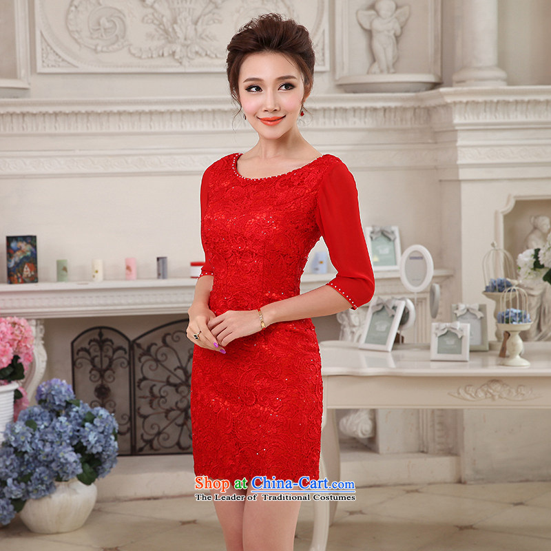 Hei Kaki 2015 new short, collar small evening dresses bridesmaid skirt China wind LACE EMBROIDERY聽NF29-1 engraving聽RED聽M
