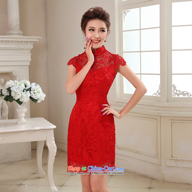 Hei Kaki 2015 autumn and winter new short, collar small evening dresses bridesmaid skirt China wind LACE EMBROIDERY�NF29-2 engraving�red�XS