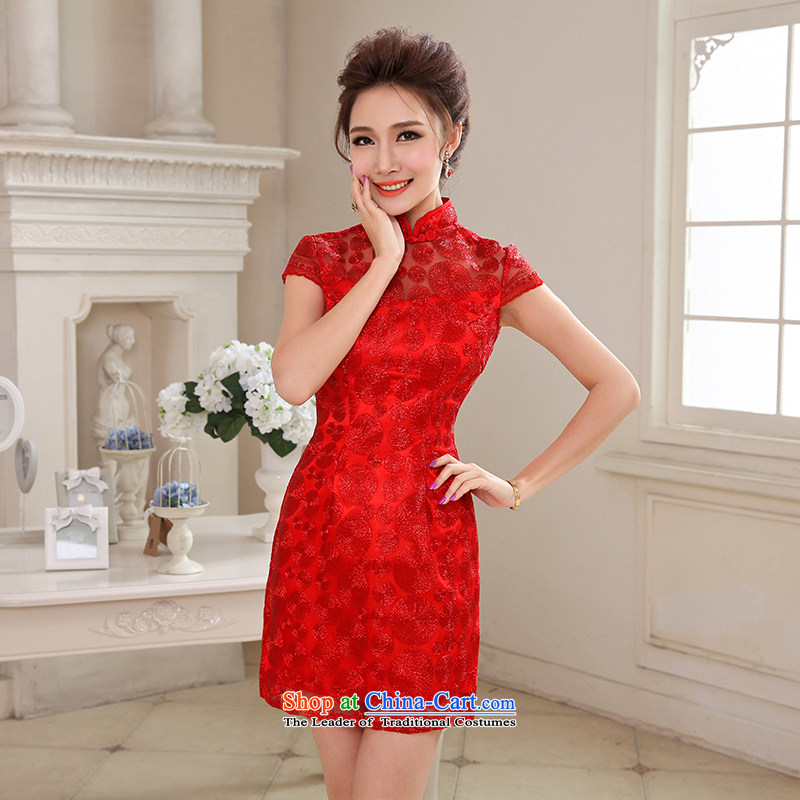 Hei Kaki 2015 autumn and winter new short, collar small evening dresses bridesmaid skirt China wind LACE EMBROIDERY?NF29-3 engraving?red?XL