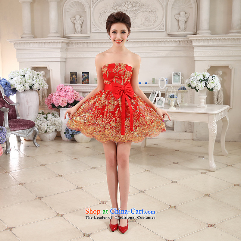 Hi Lo Joy Kaki 2015 autumn and winter new short of small evening dresses bridesmaid skirt bow tie LACE EMBROIDERY聽NF30 COAGULATES聽RED聽M