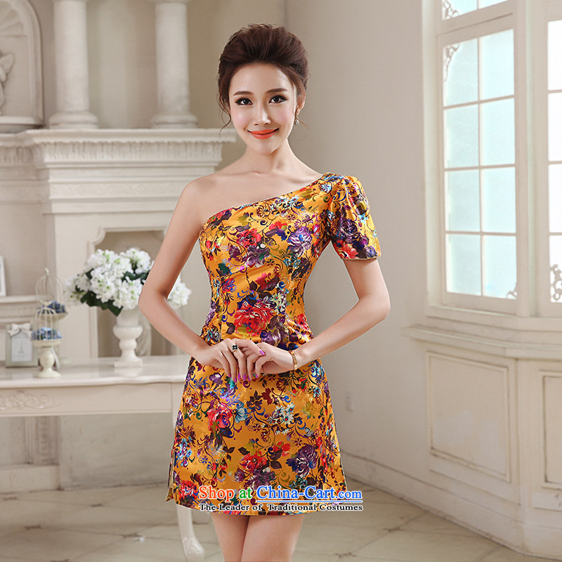 Hei Kaki 2015 autumn and winter new short single shoulder stamp small dress of gold embroidery Beveled Shoulder-to-day can penetrate?NF31?APRICOT?L