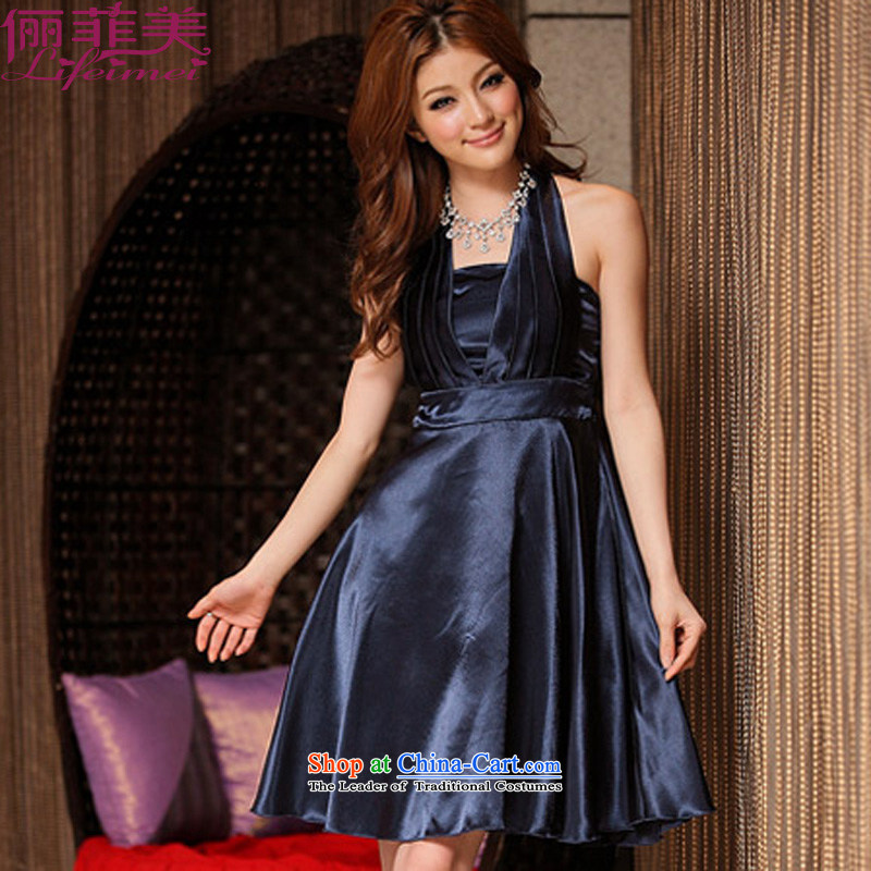 158 and 2015 XL dress neck hangs high waist emotional large simple western dinner dress and sisters mm thick apron skirt royal blue聽XL 115-135 for a catty