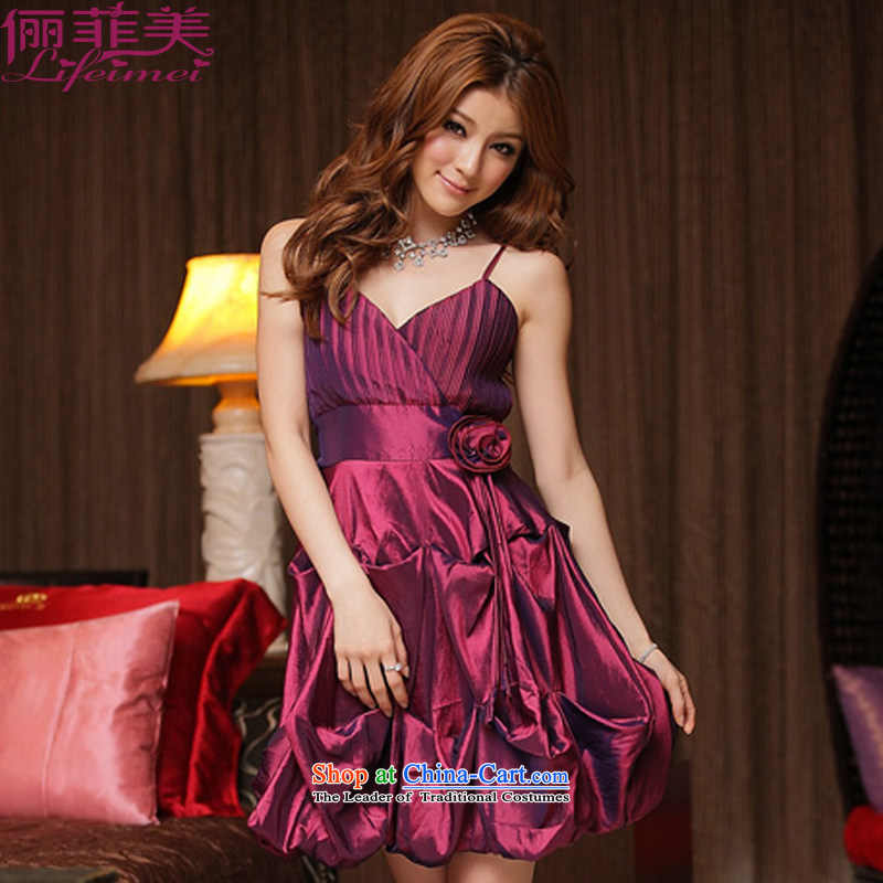 158 and XL dress chest sexy V-Neck Fold Pressure Lantern layer waist kidney pin with video thin dinner dress show dresses aubergine?XXXL 155-175 for a catty