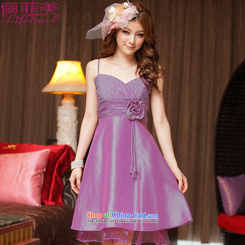 Li and the large number of dress sexy star V-Neck Top Loin with kidney (not remove) A field petticoats video thin thick mm annual dinner dress purple�XL 115-135 for a catty