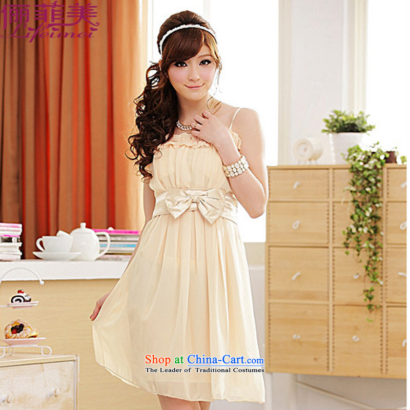 Li and the lifting strap, Japan and the Republic of Korea back waist belt with high elastic bow tie chiffon Sau San Fat mm larger video thin sister bridesmaid small dress code? F apricot are suitable for 90-120 catty