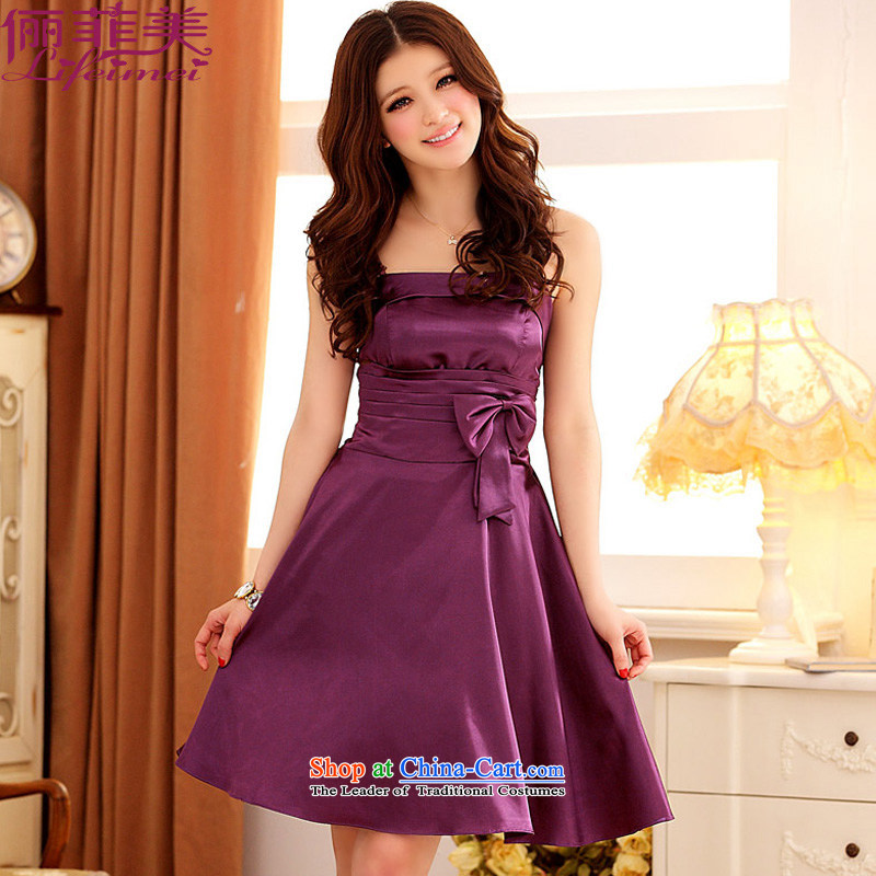 158 and the 2015 Shinhan version xl female strap temperament Top Loin of large A dress Annual Show bridesmaid sister small dress purple?XL 115-135 for a catty