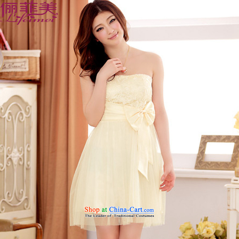 Li and the anointed breast height waist Sau San Fat mm gauze, attached yi small dress large bow tie back waist elastic princess evening dress bridesmaid sister champagne color code? F for 85-115 per capita burden