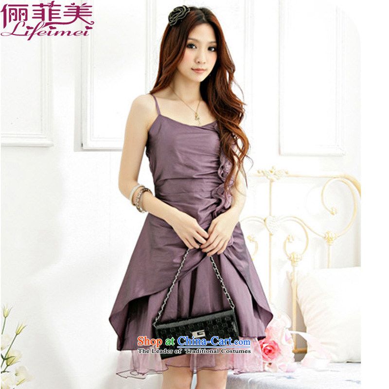 158 mm thick and the stars of the strap Western Chest Flower Foutune of annual dinner of the Sau San performance A skirt evening dress purple聽XXXL 155-175 for a catty