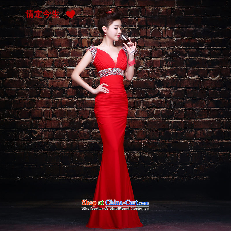 Love of the overcharged by 2015 new long dark red V Sau San crowsfoot marriages bows service wedding dress female red tailor-made exclusively concept Message Size
