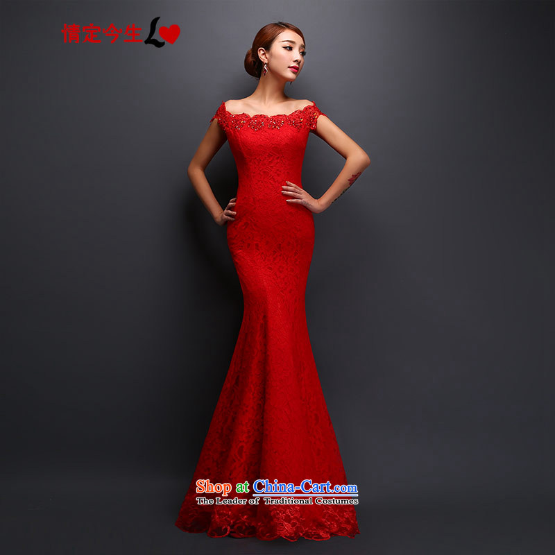 Love of the overcharged by 2015 new long lace red bows dress Korean bows to marry a crowsfoot Sau San red tailor-made exclusively concept Message Size